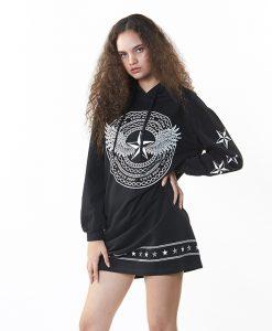 BJ JEANS Hoodie Mini Dress ผู้หญิงรุ่น CODE BLACK : TTLGF-0118